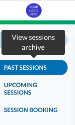 Admin Past sessions tab