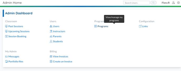 Admin home - programs