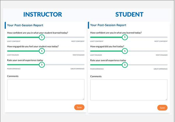 Post -session report screen shots