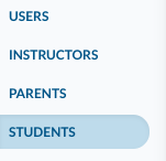 Students page - left nav access